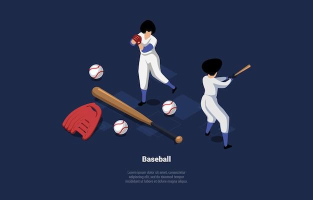 Illustratie op blauw donker van twee honkbalspelers in wit uniform speelspel