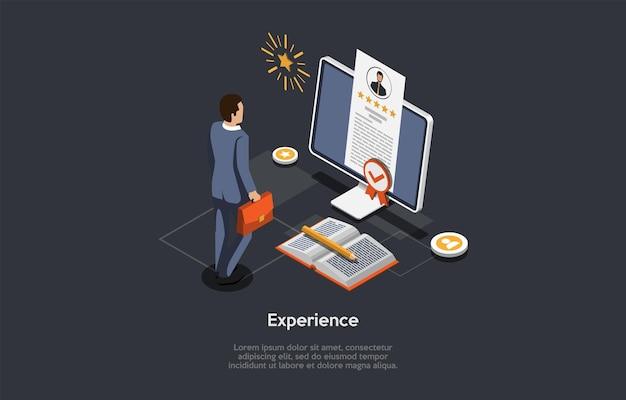 Illustratie op donkere achtergrond met schrijven en tekens. 3d cartoon stijl samenstelling, isometrische vector design. beroepservaring, werk- en opleidingsbeoordeling. zakenman staande, computer