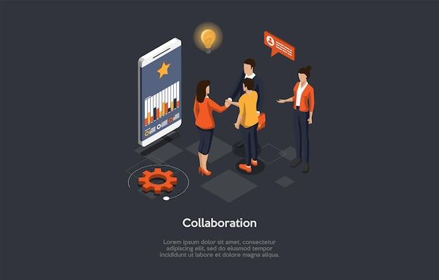 Illustratie op donkere achtergrond met schrijven en tekens. 3d cartoon stijl samenstelling, isometrische vector design. ondernemers samenwerking proces concept. werkend team, smartphone met grafiek