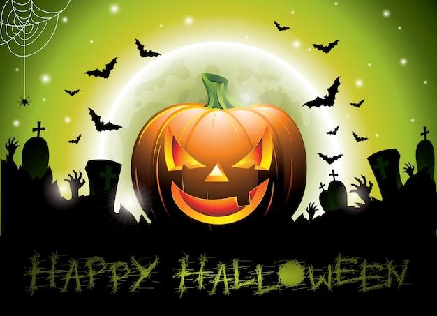 Illustratie op een happy halloween thema met pompoen.