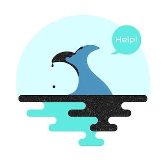 Illustratie op het thema van de vervuiling van de oceaan. vector.