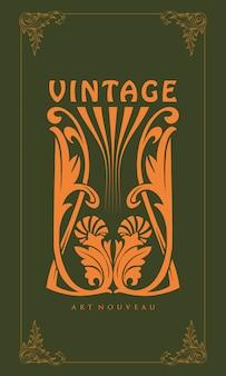 Illustratie ornament snijdende art nouveau stijl vintage