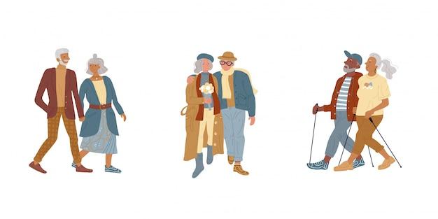 Illustratie oudere paren wandelen park