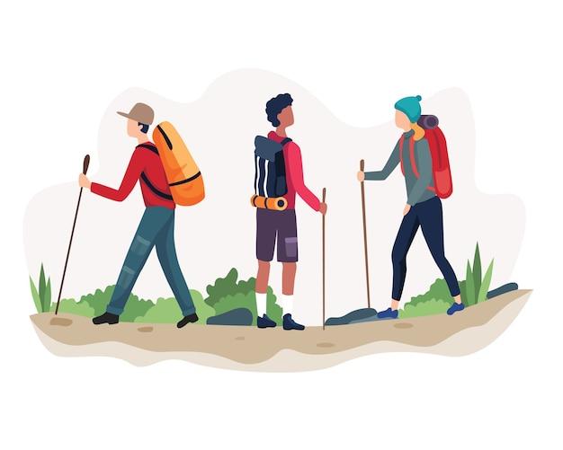 Illustratie outdoor-activiteit wandelen. man en vrouw in buiten berglandschap. vakantie zomeravontuur op de camping. in vlakke stijl
