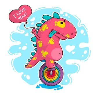 Illustratie over dinosaur in love