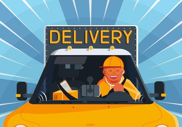Illustratie over het thema van bezorgservice met een gelukkige koeriersman die een vrachtwagen bestuurt.