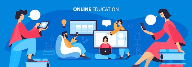 Illustratie over online onderwijsconcept. mensen die met apparaten studeren