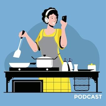 Illustratie over podcasting. mensen luisteren naar audio in een koptelefoon