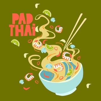 Illustratie. pad thai kom straatvoedsel