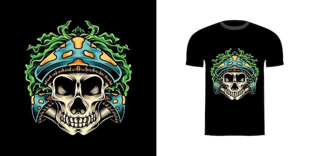 Illustratie paddestoelschedel voor t-shirtontwerp