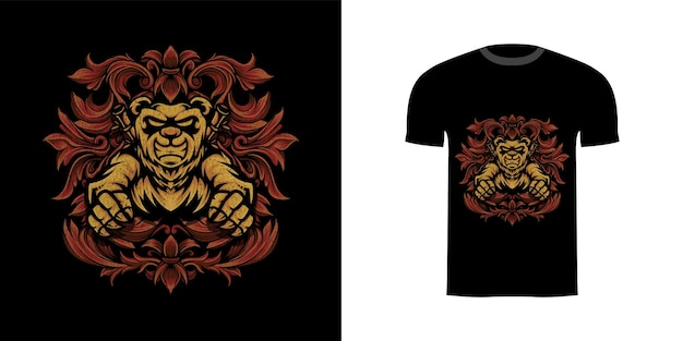 Illustratie panda krijger met gravure ornament voor t-shirt design