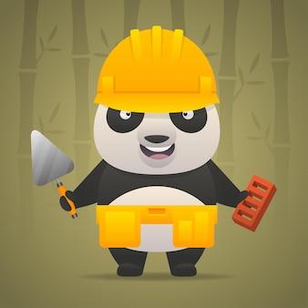 Illustratie, pandakarakterbouwer in helm, formaat eps 10