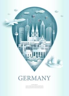 Illustratie pin punt symbool met bezienswaardigheden van de oude architectuur van berlijn