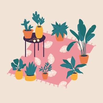 Illustratie planten in potten collectie. trendy huisdecor met planten, cactussen, tropische bladeren.