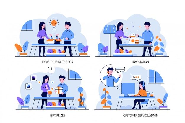 Illustratie plat en schets ontwerpstijl, ideeën, buiten de doos, investering, cadeau, prijzen, klantenservice, admin