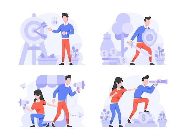 Illustratie platte ontwerpstijl, man en vrouw die doelmarkt, schildbescherming, sociale media marketing, bedrijfsvisie doen