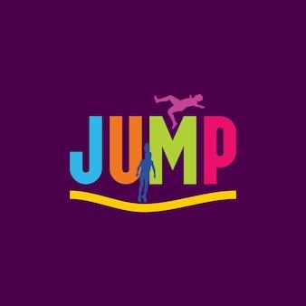 Illustratie pose mensen springen sport silhouet teken logo ontwerpsjabloon