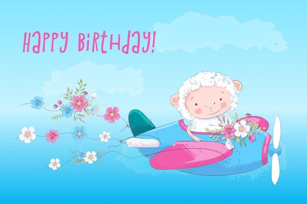 Illustratie poster voor de kinderkamer print cute cartoon schapen op een vlak met bloemen