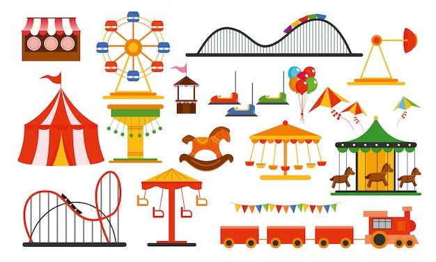 Illustratie pretparkelementen op witte achtergrond. familie rust in attracties park met kleurrijke reuzenrad, carrousel, circus in vlakke stijl.