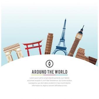Illustratie reis rond de wereld template