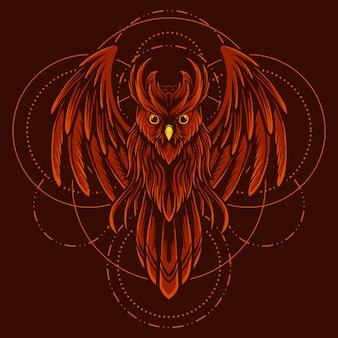 Illustratie rode uil geometrisch met cartoon stijl vector