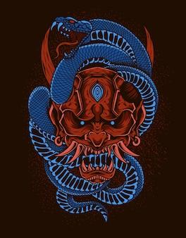 Illustratie rood oni masker met slang