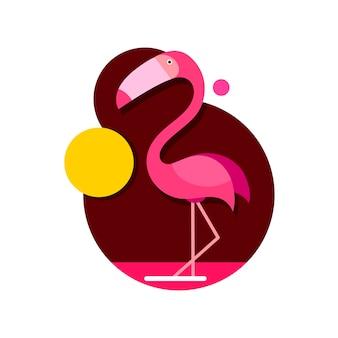 Illustratie roze flamingo geïsoleerd