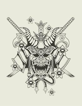 Illustratie samurai hoofd zwart-wit stijl