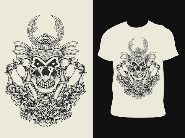 Illustratie samurai schedel met t-shirtontwerp