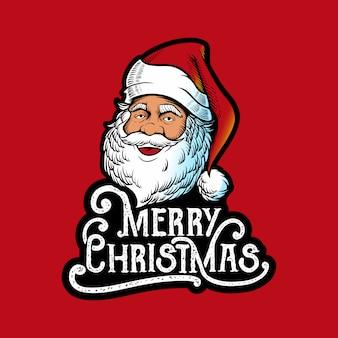 Illustratie santa claus hoofd met letters merry christmas