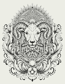 Illustratie schapen hoofd met vintage ornament stijl