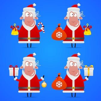 Illustratie, schapen kerstman in verschillende poses, formaat eps 10