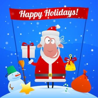 Illustratie, schapen kerstman vakantie illustratie, formaat eps 10