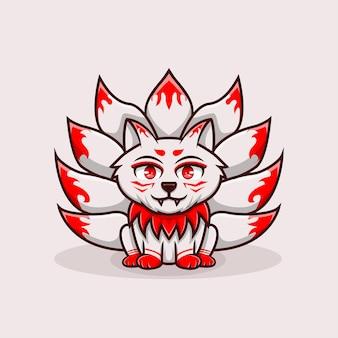 Illustratie schattig karakter kitsune negen verhaal