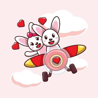 Illustratie schattig konijn verliefd vliegen met vliegtuig