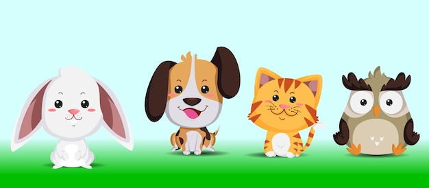 Illustratie schattige dieren, tijger, hond, uil en konijn