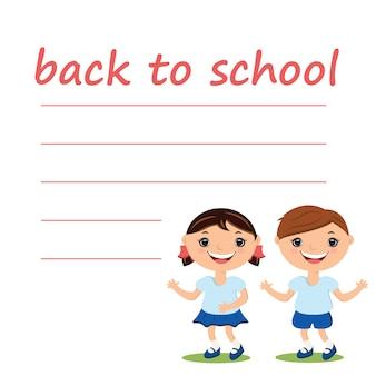 Illustratie schattige jongen en meisje met lege terug naar school