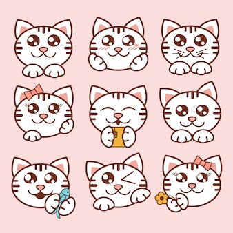 Illustratie schattige katten iconen set. sweet kittens stickers in vlakke stijl.