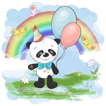 Illustratie schattige kleine panda met ballonnen van regenboog en wolken. afdrukken op kleding en kinderkamer