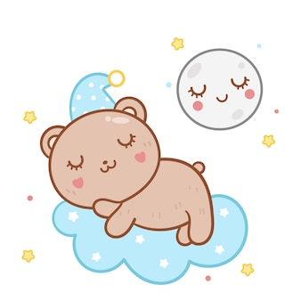 Illustratie schattige teddybeer slapen met maan