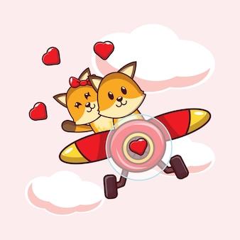 Illustratie schattige vos verliefd vliegen met vliegtuig