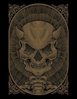Illustratie schedel demon met gravure stijl