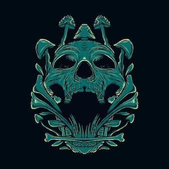 Illustratie schedel en paddestoel