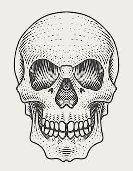 Illustratie schedel hoofd met gravure stijl