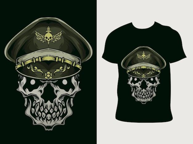 Illustratie schedel leger met t-shirt ontwerp