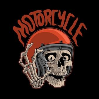 Illustratie schedel motorfiets