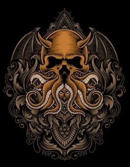 Illustratie schedel octopus met vintage gravure ornament