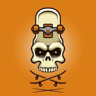 Illustratie schedel skate board met cartoon stijl