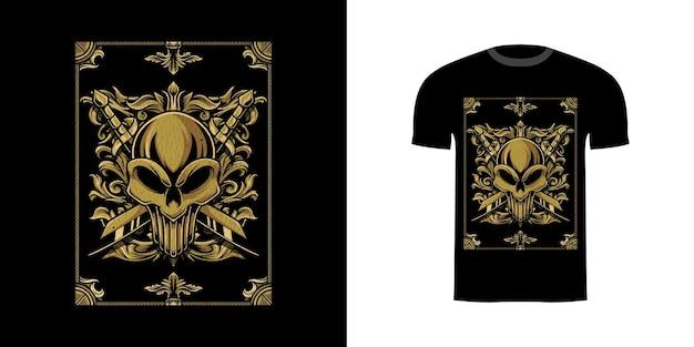 Illustratie schedelblad met gravureornament voor t-shirtontwerp