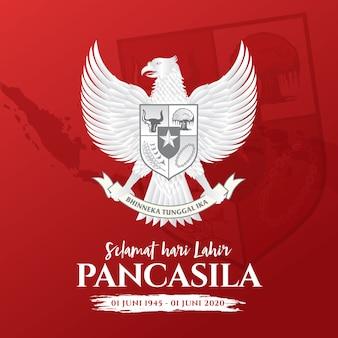 Illustratie. selamat hari lahir pancasila. vertaling: fijne pancasila-dag. .